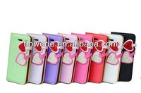 FL290 hot selling two heart-shaped diamond leather case for iphone 5