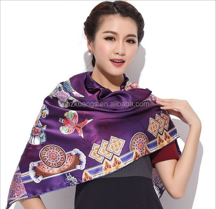 2015 Custom digital printed silk fabric for scarf