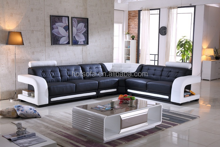 Living Room Furniture Corner Sofa Set Designs Genuine Leather Couch