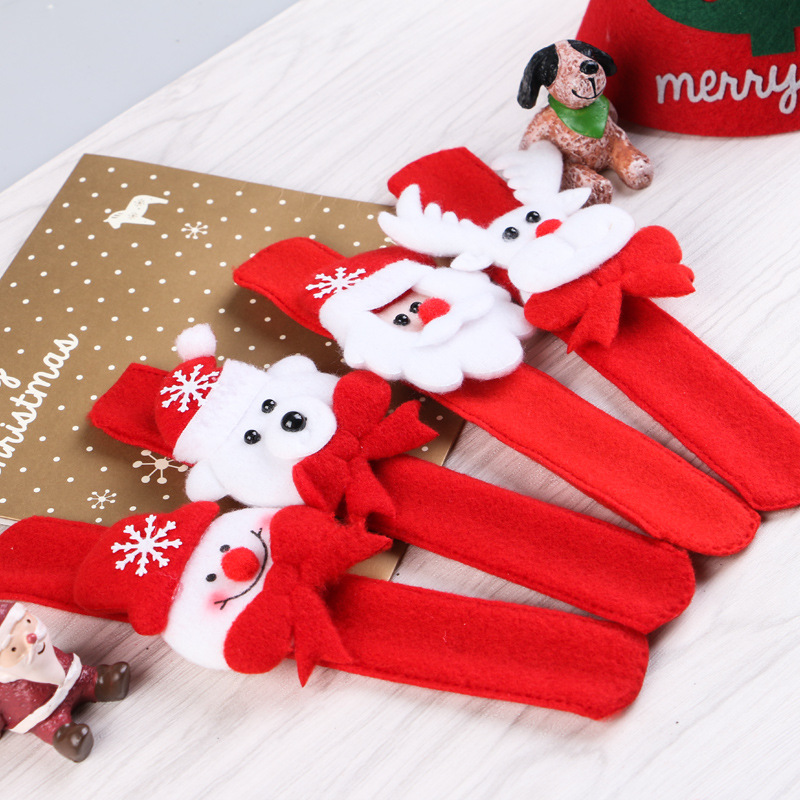 Christmas Child Gift Decorations Xmas Santa Claus Snowman Toy Slap Pat Circle Bracelet Wristhand Party Toys