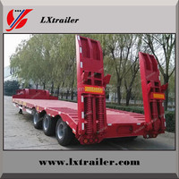 Chinese factory competitive price 3-axle low bed trailer for sale with rail and ramp