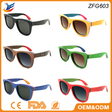 2016 Fashion Polarized Lens Eco-friendly Bamboo frame skateboard Wooden Sunglasses with Custom Logo