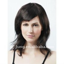 Capless Medium Length Black Yaki Straight 100% Human Hair Wig with Side Bang