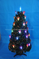 Colorful LED Light Decor Artificial Fiber Optic Christmas Tree With Bowknot Decor