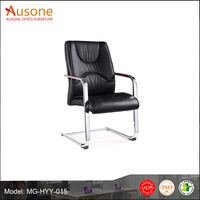 Hot Sale Black Leather Conference Hall Chair With Chorme Base