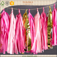 Table decoration hanging party favor tissue tassel garland