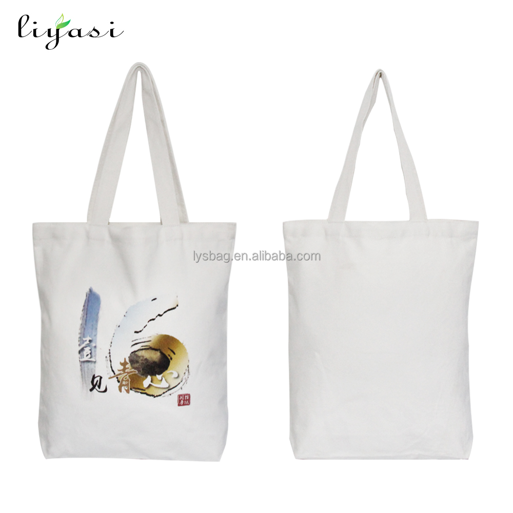 Promotional eco white recycled wholesale custom print shopping tote plain cotton canvas bag