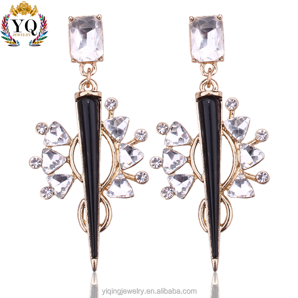 EYQ-00137 women statement hanging crystal black sharp corner italian earring