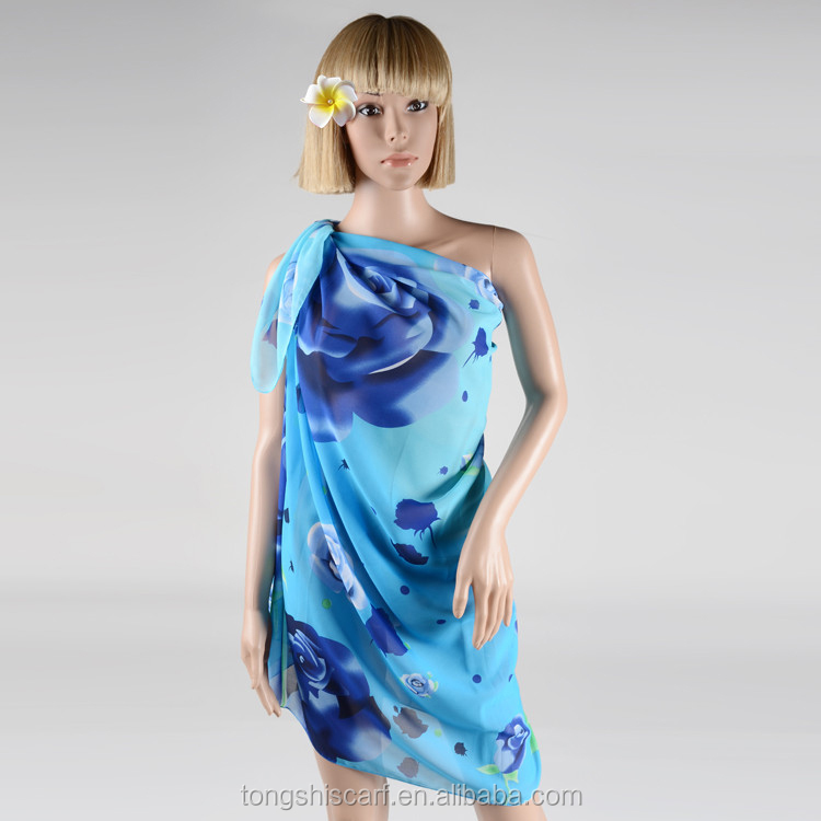 Blue chiffon pareo beach wear and dresses with floral design
