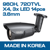 960H, 720TVL, 3X LED, Bullet Camera with V/F lens