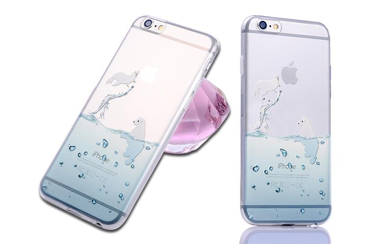 Marine Animals Back Designs for iPhone 7 Case Clear TPU Cover; Dolphins Penguins Polar Bears Sink Cover for Case iPhone 7