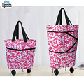 Hot selling colorful grocery foldable shopping bag market trolley with rolling wheels