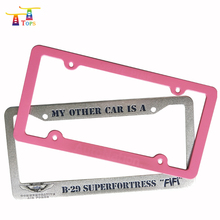 High quality custom license plate frame printed with engraved raised logo