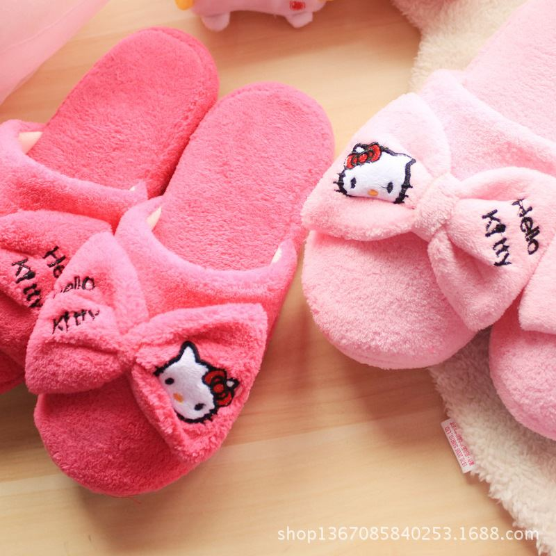 Cute Hello Kitty Women <strong>Slippers</strong> Indoor House Warm Spring Home Shoes Bedroom Cartoon Animal Adult Flats