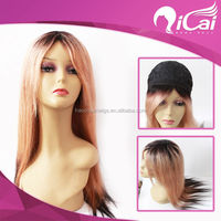 Wholesale Silky Straight 20 Inch Indian Hair Ombre Color Hair Full Machine Made Wigs