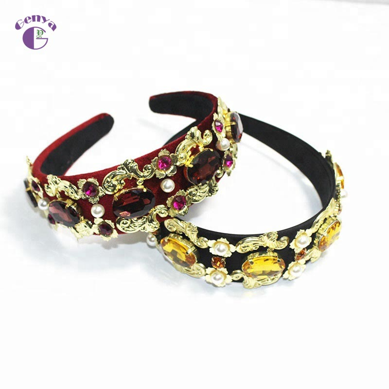 GENYA New vintage women British fashion rhinestone embellished wide velvet baroque jewelled <strong>headband</strong>