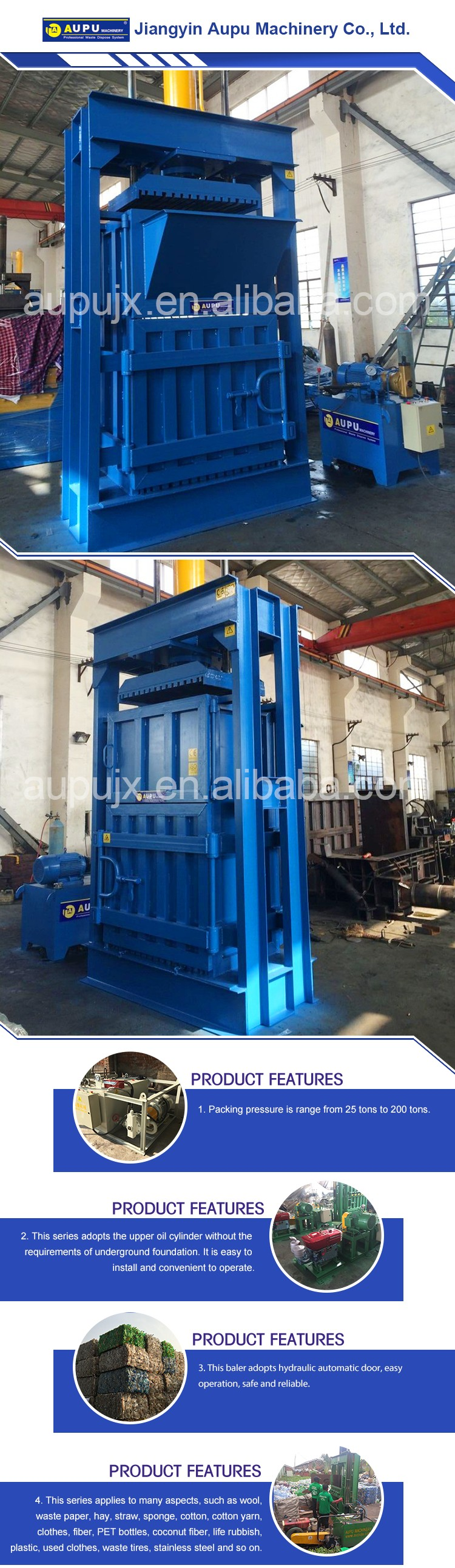 Non-metal plastic press bottle clothing hydraulic baler baler for car tyre