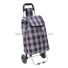 RW6308A China Shopping Bag Factory Supply Vegetable Polyester Shopping Trolley Cart In Blue Checker Pattern Fabric