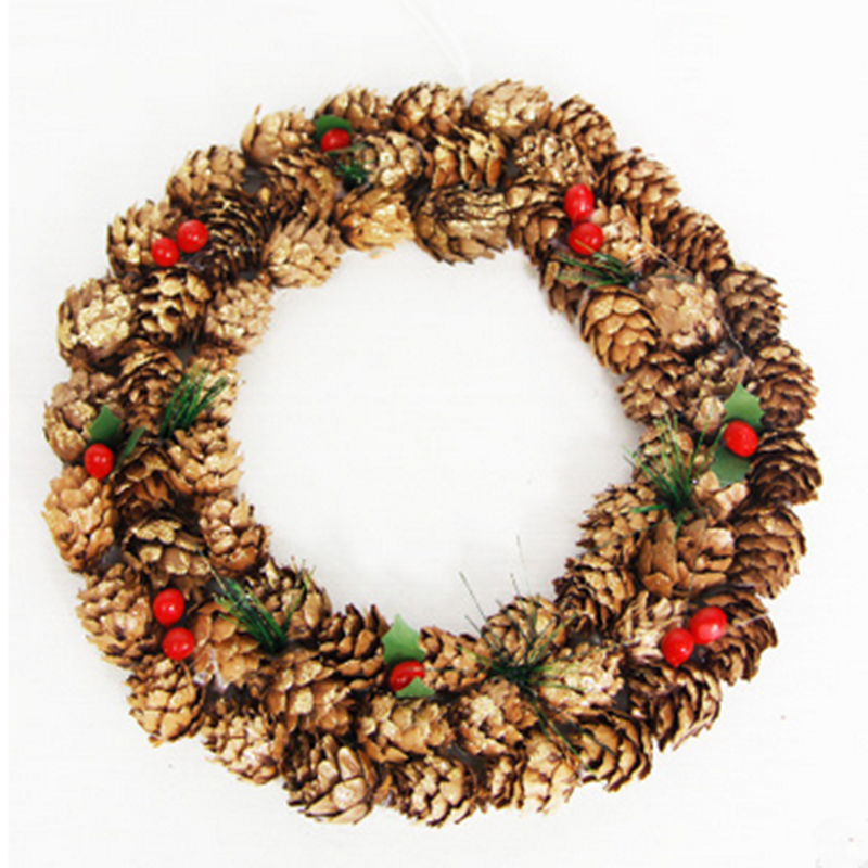 High Quality Christmas Decoration Wooden Pine Cone Ring Wall Hang Decoration
