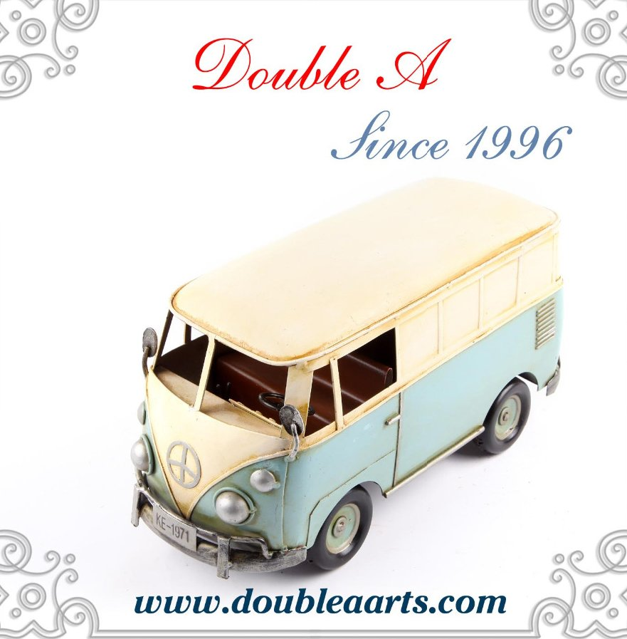 Europe style metal bus model vintage style bus model for home decoration