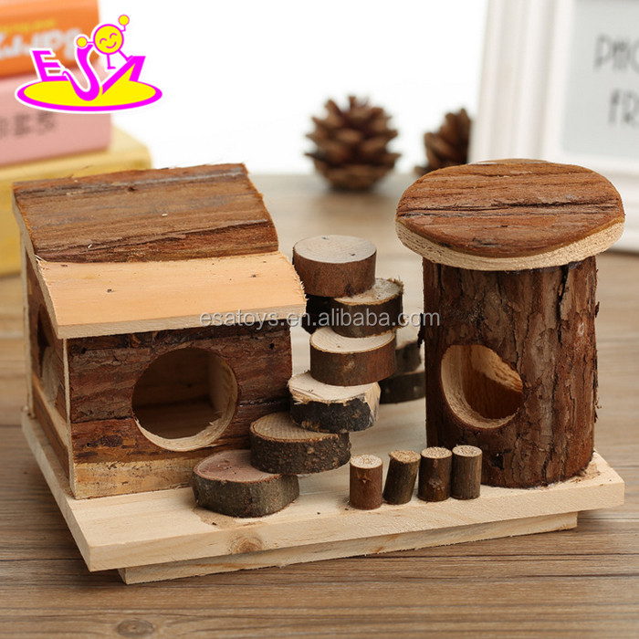 2017 New products pet accessories natural wooden best hamster cage W06F021