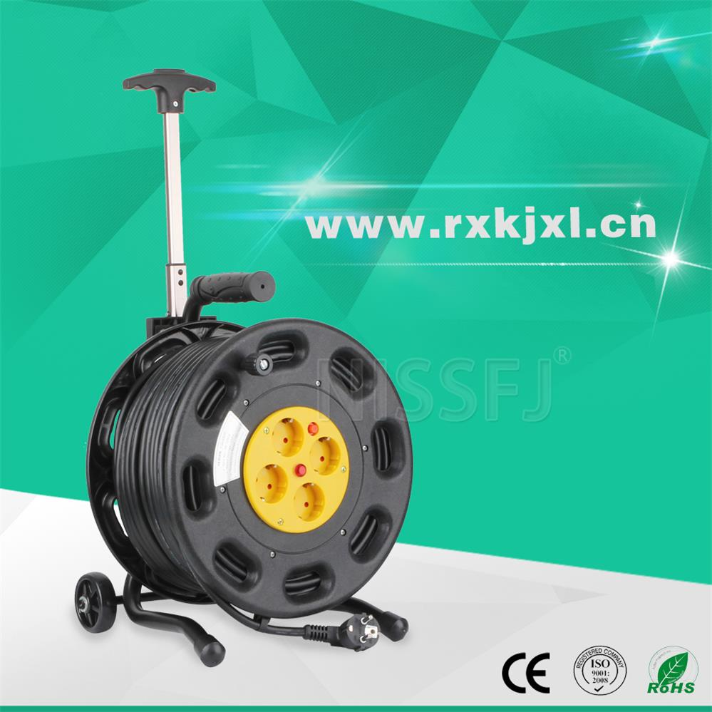 European type home-use extension leakage protector cable reel 2 pin 3pin 4 outlets socket handle steel cable drum