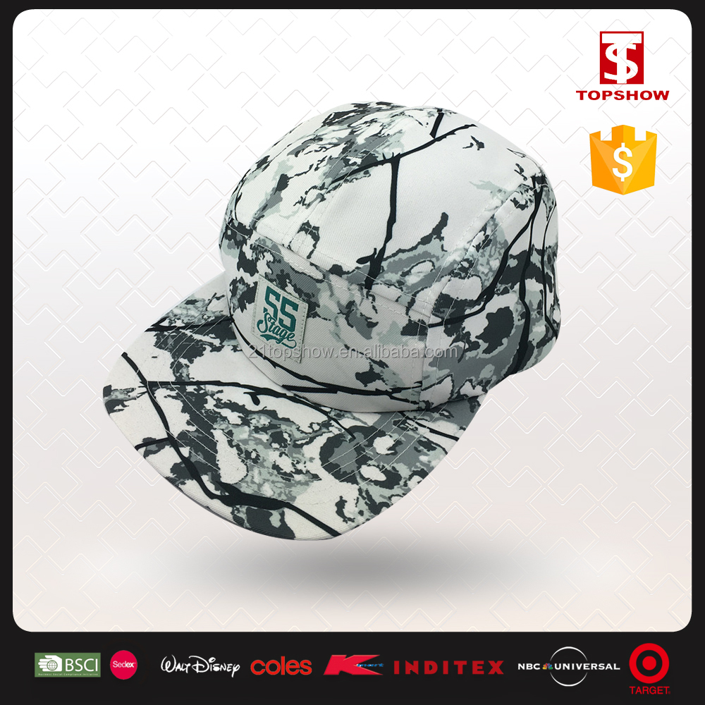 Topshow flat brim chinese style classic printed snap back hat with plastic buckle