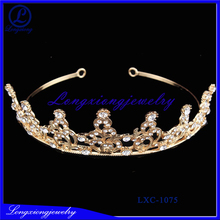 2017 New Design Mini metal pearl Beaded Tiaras Crown For Kids With Crystal