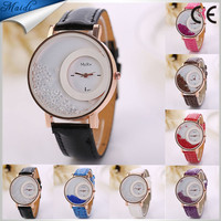 Free Shipping Moving Beads Crystal Quartz watch 2015 New Fashion Luxury Casual Watch Dress Watch Leather ladies Watch LW004