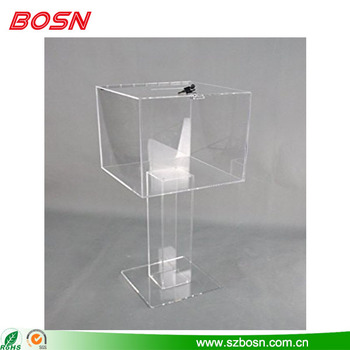 High quality fixture displays clear plexiglass large floor standing ballot box