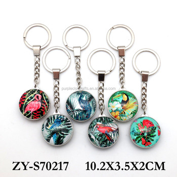 Custom Bird design dome Glass Metal Keychain Keyring for Decorations Gifts
