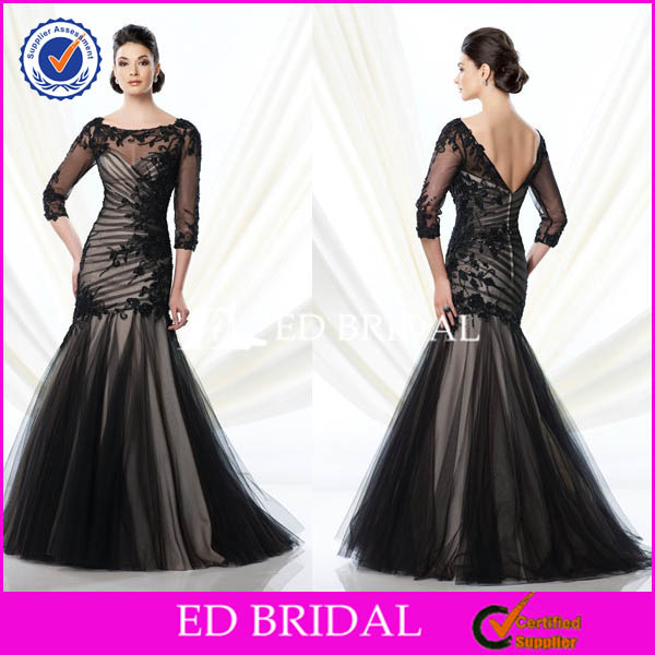 XL983 long sleeve black lace sexy backless fishtail 2014 vintage mother of the bride dresses