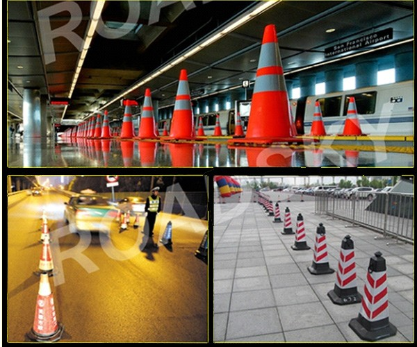 orange red reflective safety rubber cone for construction