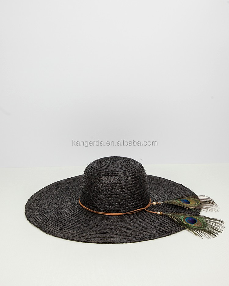 Fashion Feather Summer Raffia Straw Hat China Manufacturer