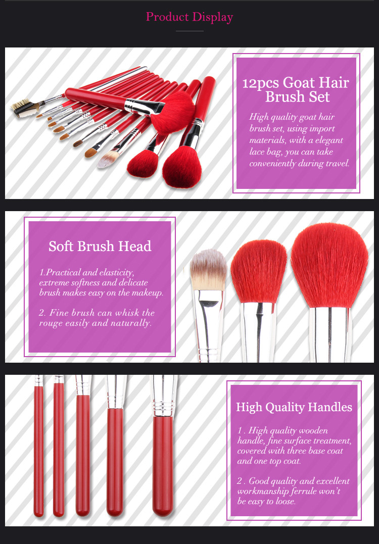 12 pcs Bright Red Full Set Of Cosmetic Makeup Brushes Suit