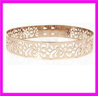 KDA3386 Wholesale gold and silver metal belts bling bling belts with hollow carved flower