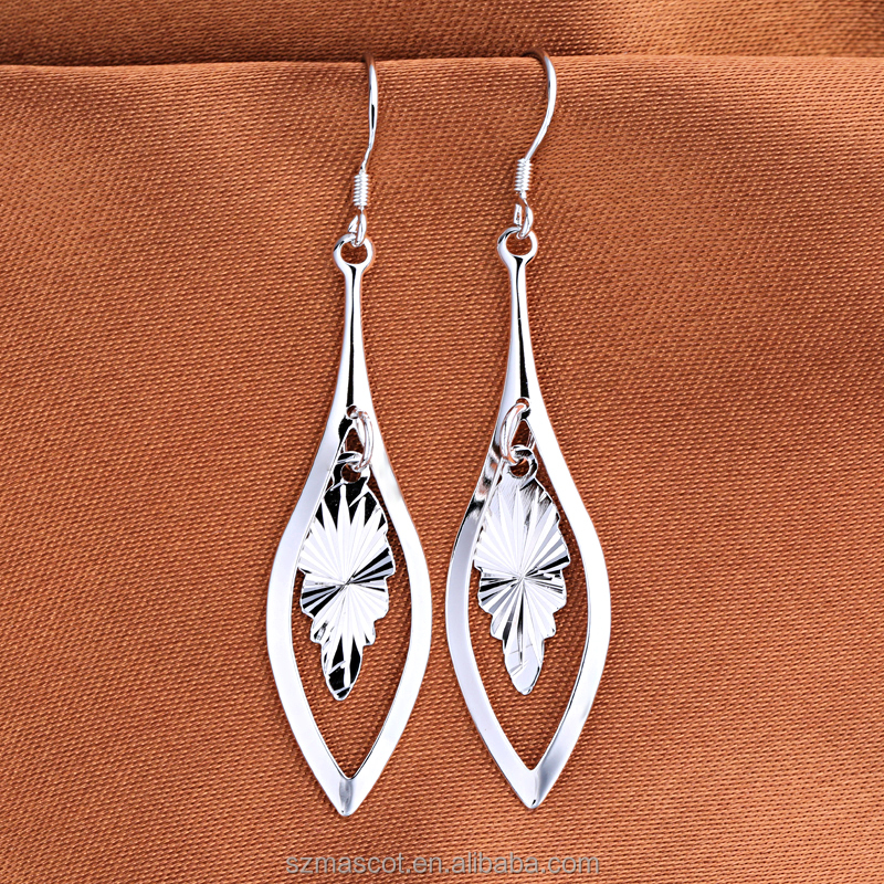 Wholesale 925 Sterling Silver Polished Elongated-Oval Drop Earrings