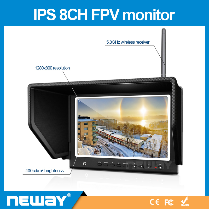 "7"" Wireless Built-in Receiver 5.8GHz HD Fpv Monitor for DJI RONIN"