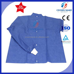blue protective nonwoven sms cleanroom lab coat
