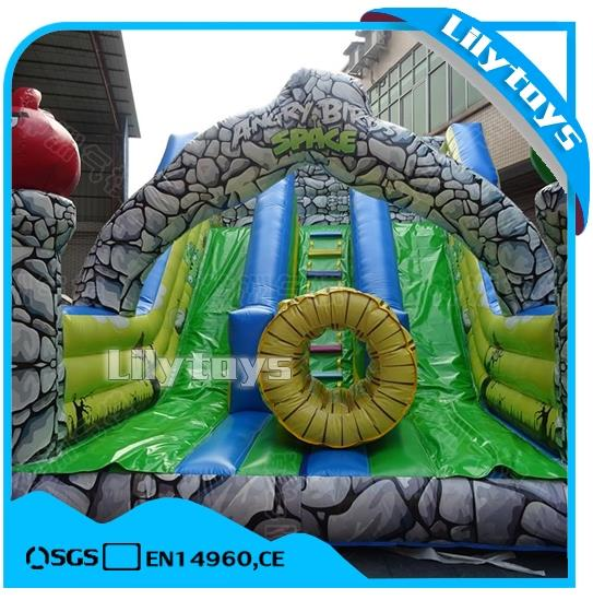 lilytoys cheap land cartoon Game characters Square slide stone inflatable bouncer castle with slide for sale