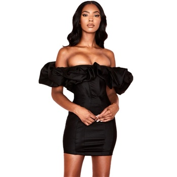 Off shoulder sexy african black ruffle bodycon mini dresses for women