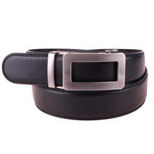 New Product Design Black Side Release Automatic Buckle Men Dress Genuine Leather Ratchet Belt