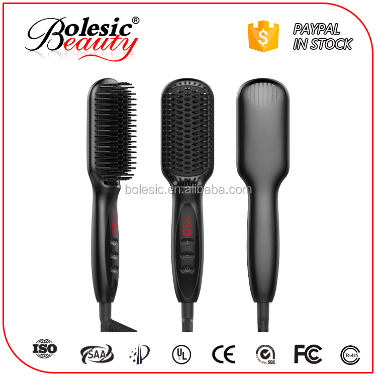 Professional factory supply anion electric comb personalized hair straightener hair flat iron
