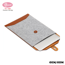 China Factory Wholesale Price Wool Felt with Leather Trimmings Macbook Air Sleeve Fashion Unique Design Pouch for Tablet PC