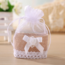 New Organza Sheer Linen Basket Bags Drawstring Candy Bags with Ribbon Bow (BF-0046)