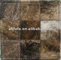 Cow hide patchwork rug, stitched leather patchwork rugs