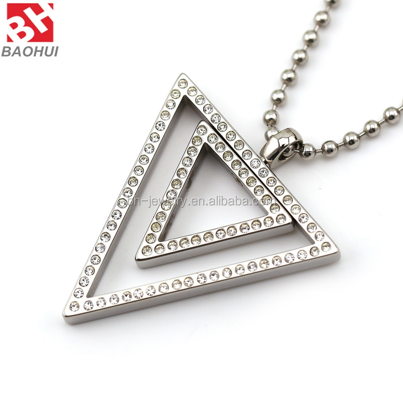 Baohui Personalized Stainless Steel Double Triangle Crystal Pendant Charms