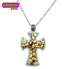 Boosin russian orthodox cross pendant with blue diamond