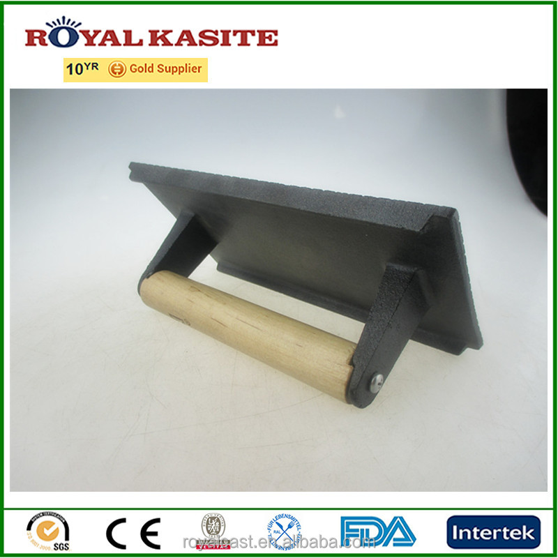 pre-seasoned cast iron grill press, wood handle with logo cast iron meat press