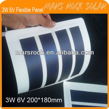 3W 6V 200*180mm Flexible Amorphous Silicon Solar Photovoltaic Module